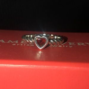 James avery Heart with Garnet Twisted Wire Ring